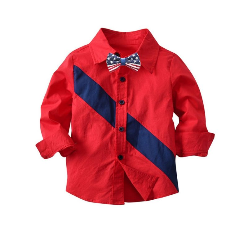 Classic Baby Big Boys Casual Color-blocking Cotton Shirt with Bow Tie