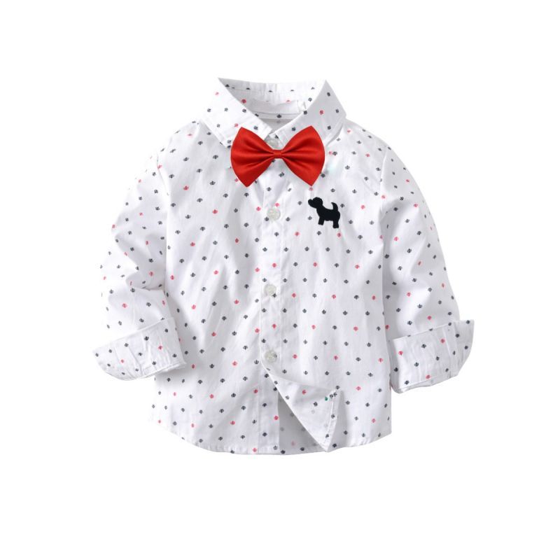 Toddler School Boys Polka Dots Dog Cotton Casual Shirt with Red Bow Tie