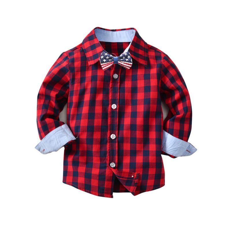 Baby Big Boy Classic Checked Cotton Casual Shirt with Bowtie