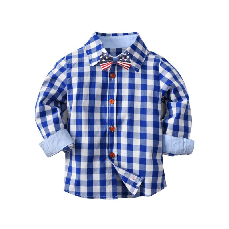 Casual Cotton Gingham Shirt with Bow Tie for Baby Big Boys