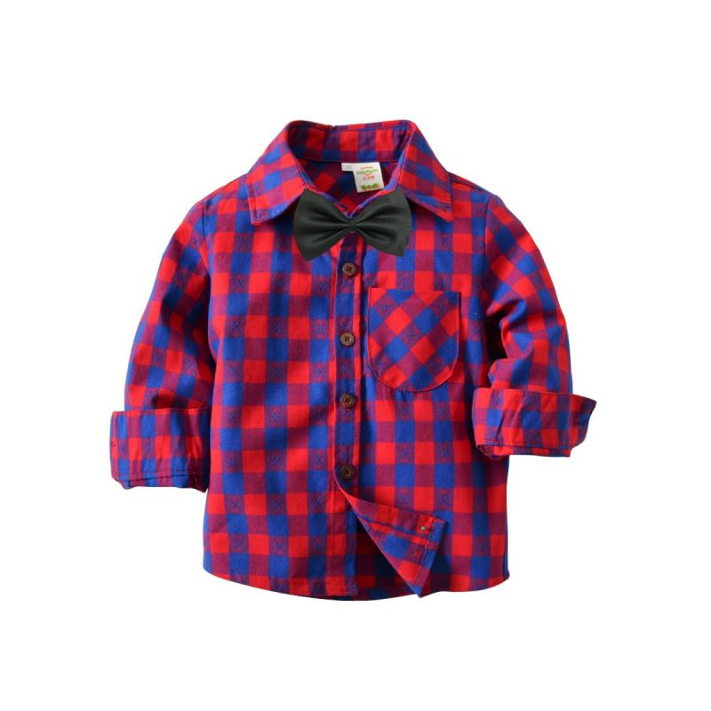 Classic British Style Little Big Boys Casual Cotton Gingham Shirt with Bow Tie
