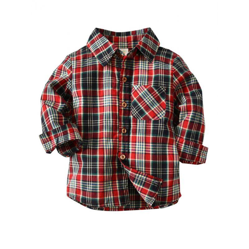 Little School Boys Casual Cotton Plaid Shirt Long Sleeve for Spring