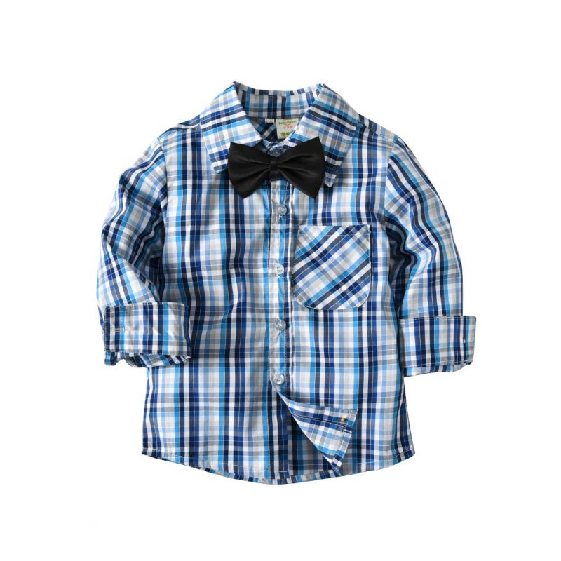 Little Big School Boys British Style Cotton Checked Shirt with Bowtie