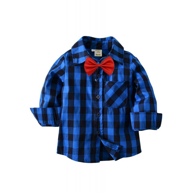 British Style Toddler Big Boy Classic Checked Cotton Casual Shirt with Bowtie