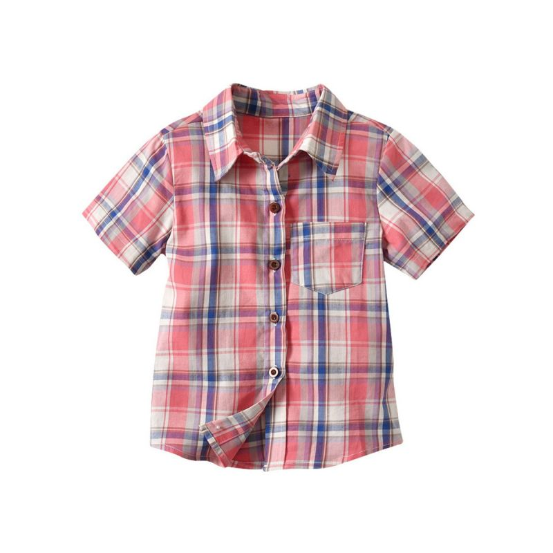 Little School Boys Summer Casual Cotton Plaid Shirt