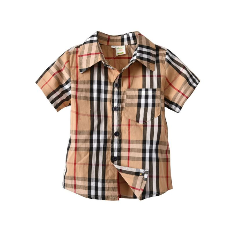 British Style Little Big Boy Classic Plaid Cotton Casual Shirt for Summer