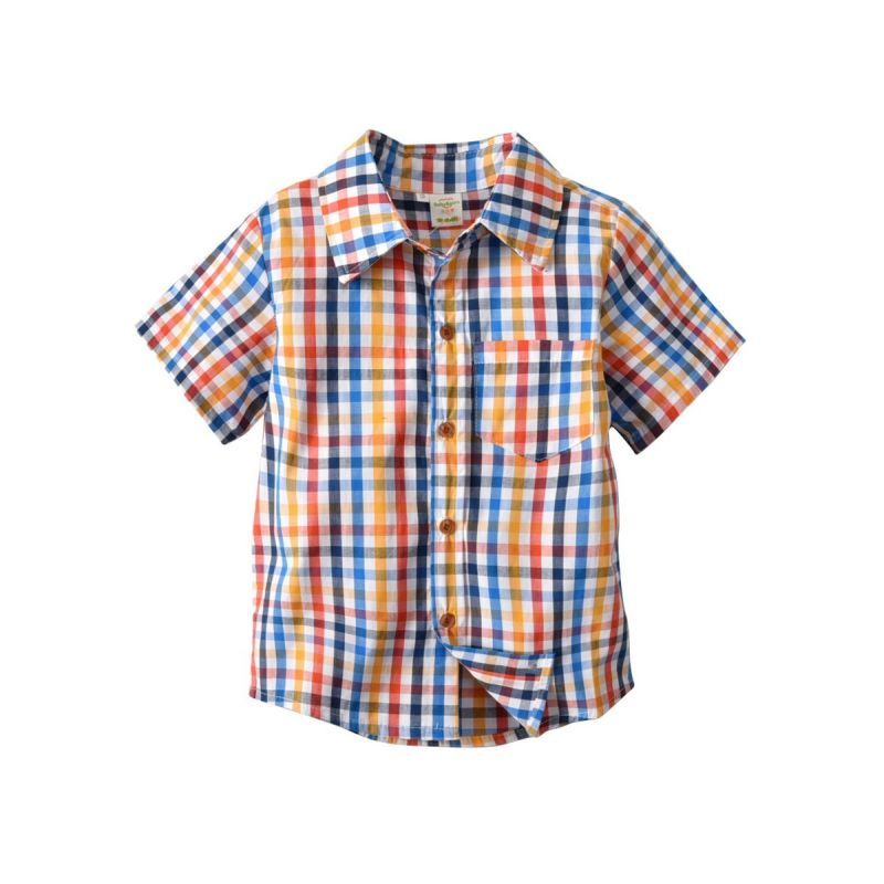 Fashion Gentleman Style Little School kids Multi-color Plaid Shirt for Summer