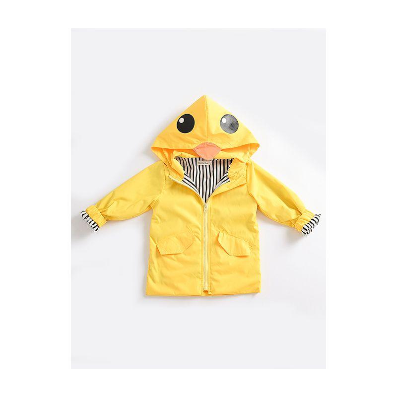 Fashion Duck Style Wind Rain Jacket  Baby Little Boys Girls Kids Zip Light Hooded Coat