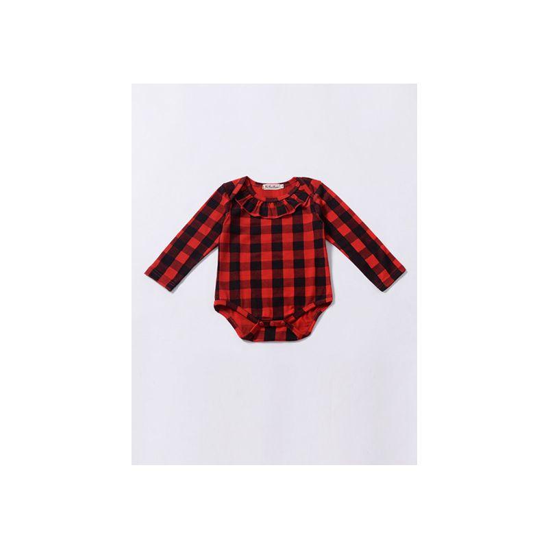 Red & Black Plaid Ruffled Baby Girl Romper Bodysuit for Spring