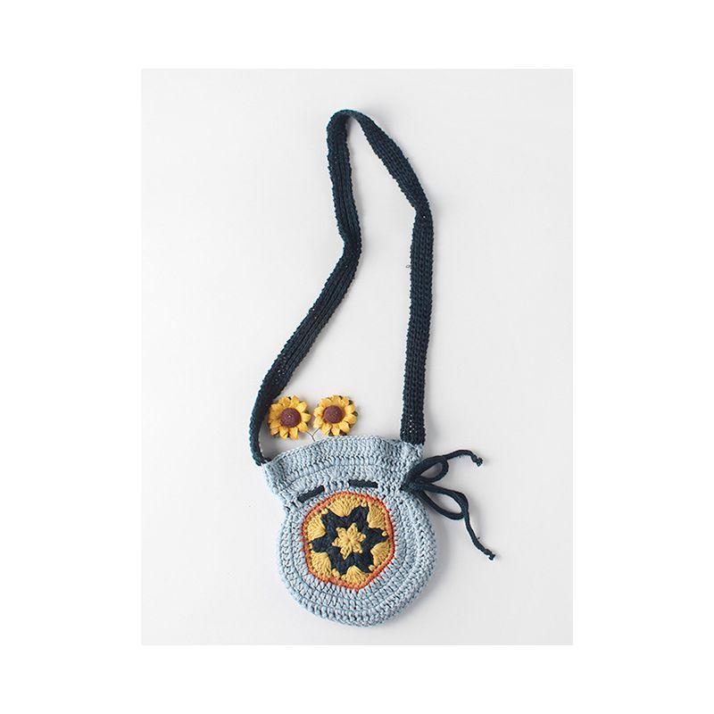 Fancy Baby Little Girl Vintage Crochet Flower Shoulder Bag Hand-made Change Purse
