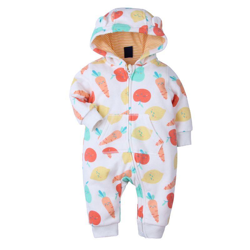 Printed Animal Ear Hooded Newborn Infant Zip Overalls Winter Jumpsuit with Kangaroo Pocket