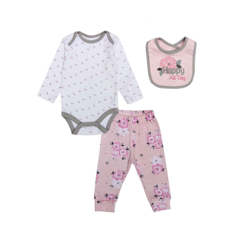 3-piece Newborn Infant Girl Cotton Clothing Outfits Set Flower Onesie +Floral Trousers+Happy All Day Bib