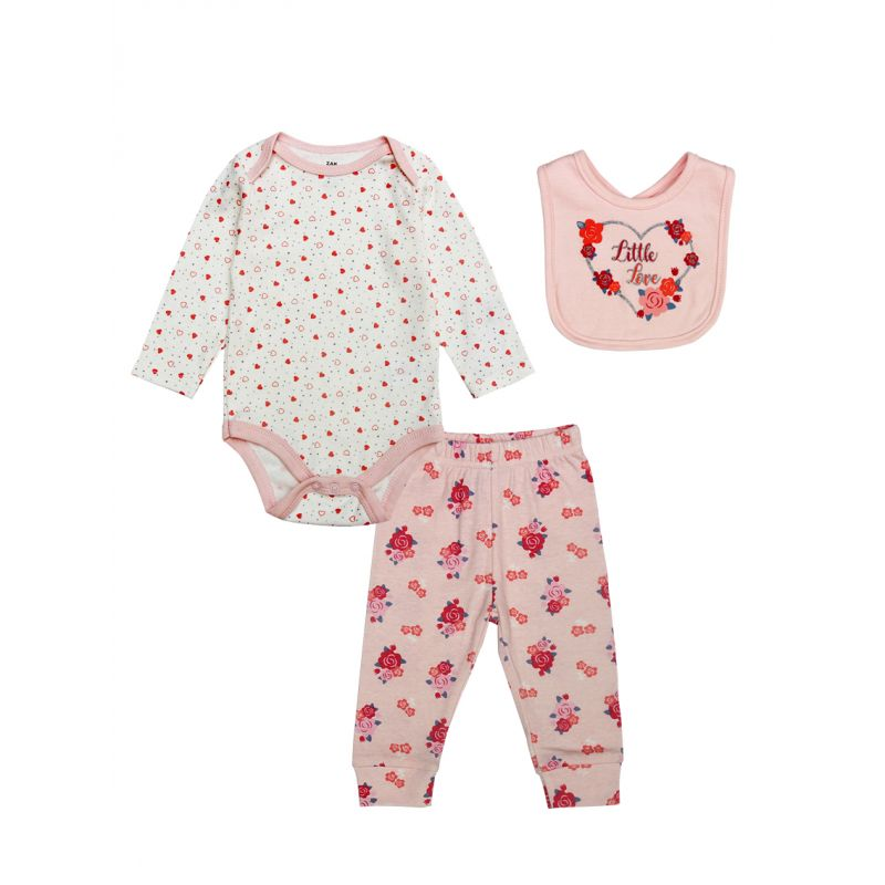 3-piece Newborn Baby Girl Cotton Clothes Outfits Set Love Heart Bodysuit+Flower Pants+Floral Love Heart Bib