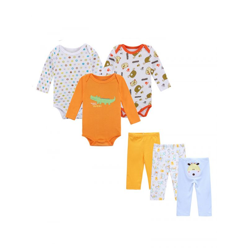 6-Pack Newborn Baby Clothes Outfits Set Cartoon Bodysuit+Pants