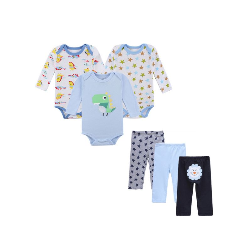6-Pack Spring Autumn Unisex Newborn Infant Clothing Outfits Set Cartoon Romper+Trousers