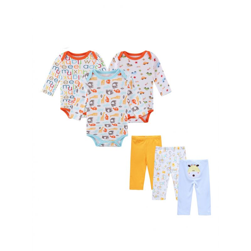 6-Pack Spring Autumn Cotton Newborn Infant Boys Girls Clothing Outfits Set Cartoon Onesie+Pants