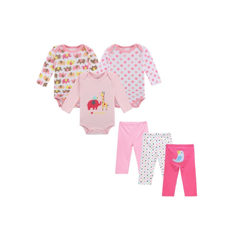 6-Pack Spring Autumn Cotton Newborn Baby Girl Clothes Outfits Set Cartoon Romper+Pants