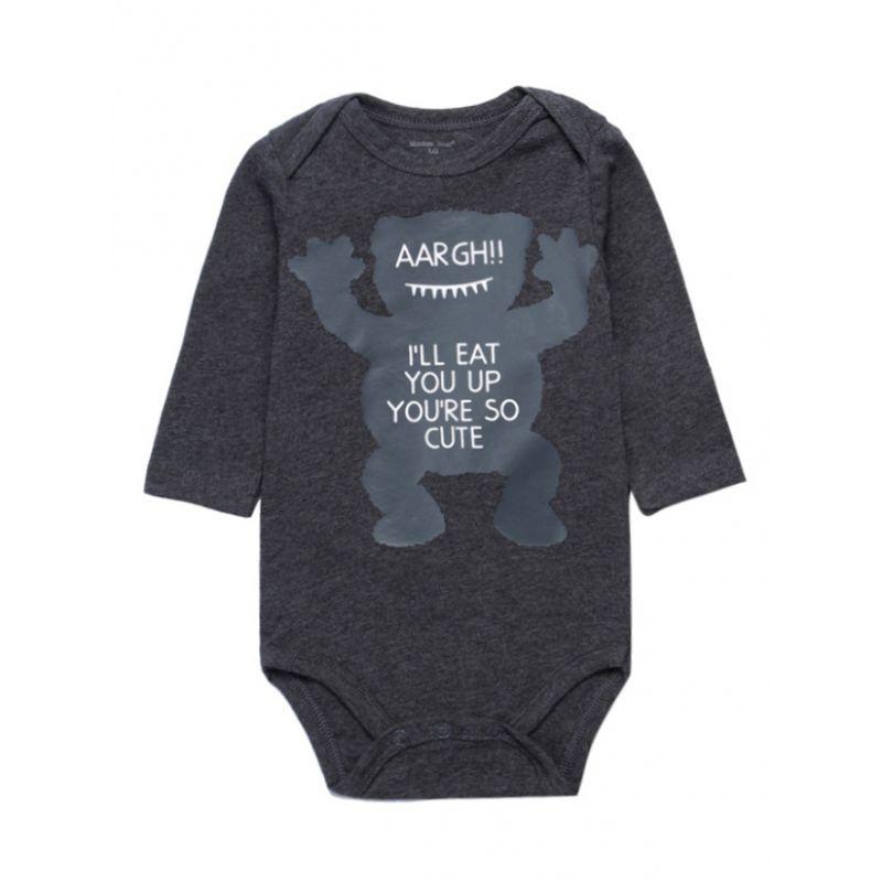 Little Monsters Newborn Baby Boys Bodysuit Onesie Long Sleeve