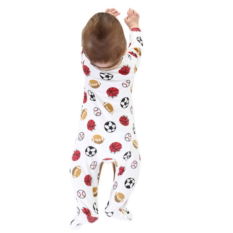 Ball Buttoned Newborn Baby Footed Jumpsuit Cotton Overalls