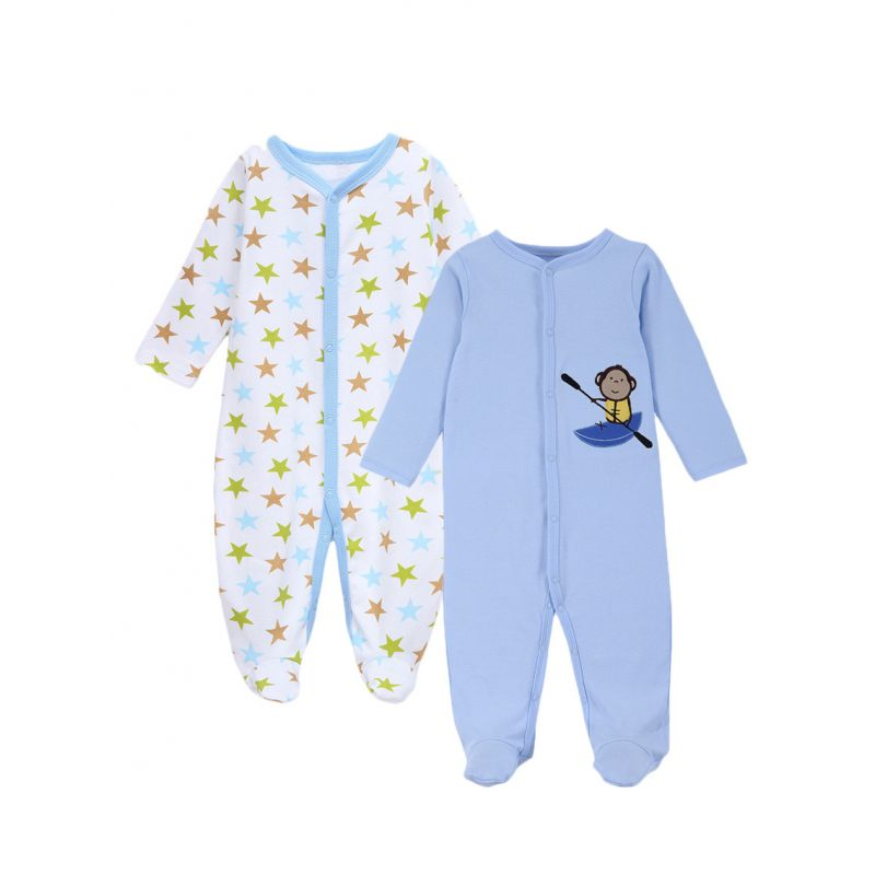 2-PACK Cute Unisex Newborn Infant Overalls Baby Footed Jumpsuit