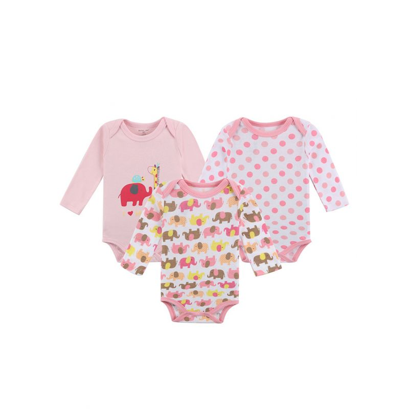3-PACK Newborn Baby Girl Cartoon Bodysuit Spring Onesie