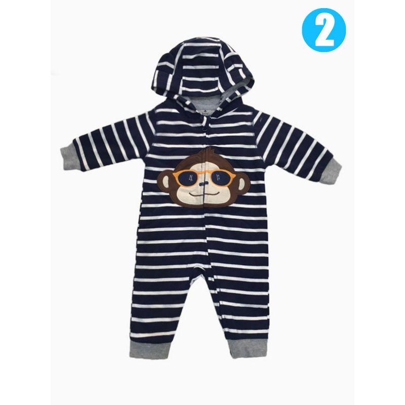 Winter Animal Ear Hoodie Padded Zip Newborn Baby Overalls Jumpsuit