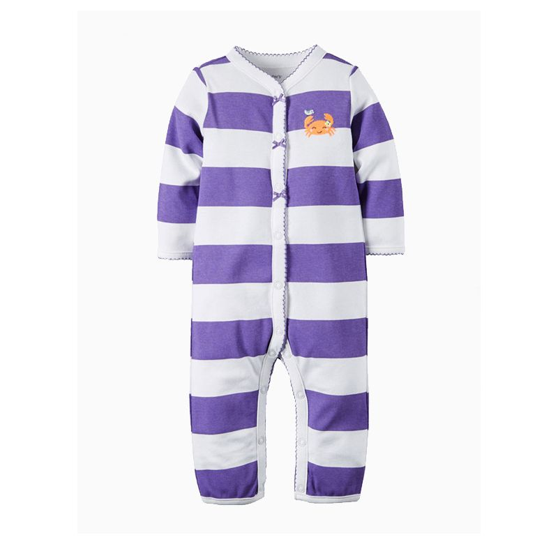 Striped Buttoned Newborn Baby Jumpsuit Overalls