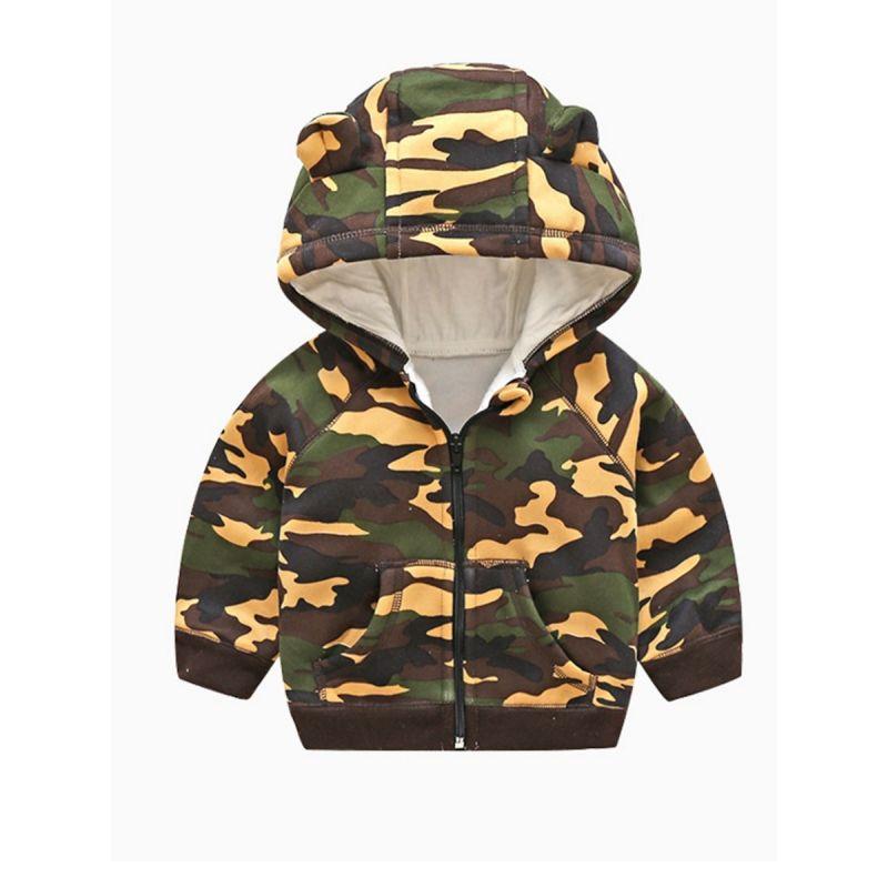 Baby Little Boys Girls Camo Fleeced Ear Zip Up Hoodie Coat with Kangaroo Pocket for Winter