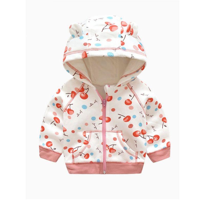 Watermelon/Cherry Baby Little Girl  Fleeced Ear Zip Up Hooded Coat with Kangaroo Pocket