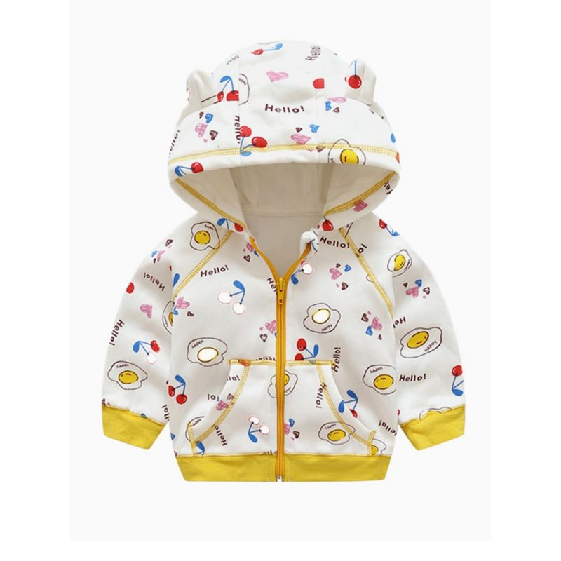 Baby Little Boys Girls Printed Fleeced Ear Zip Up Hoodie Jacket with Kangaroo Pocket for Winter