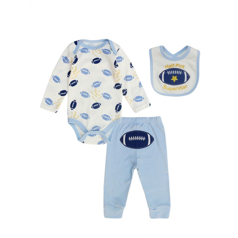 3-piece Newborn Baby Boy Clothing Outfits Set Rugby Romper+Jogger Pants +Bib