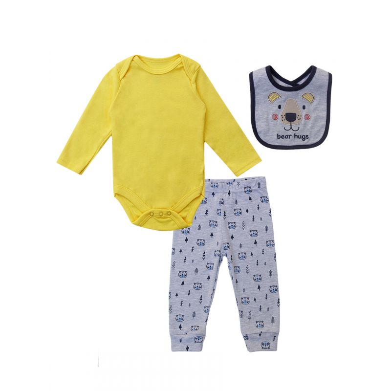 3-piece Newborn Baby Boy Clothes Outfits Set Yellow Onesie+Bear Pants +Bib