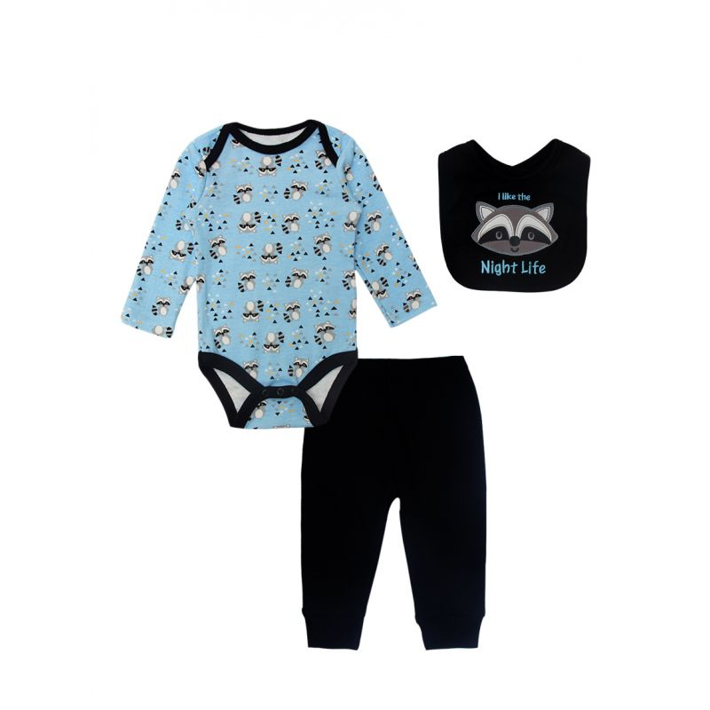 3-piece Newborn Infant Boys Spring Romper Clothes Outfits Set Little Coati Romper+Black Sports Pants+Bib