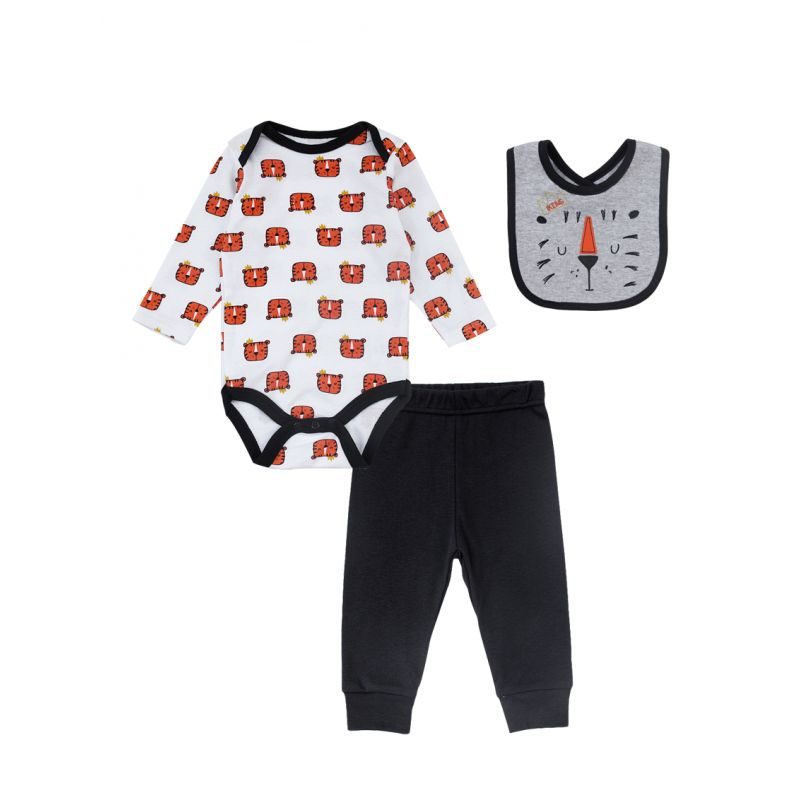 3-piece Newborn Baby Boys Cotton Clothes Outfits Set Tiger Onesie+Solid Color Trousers+Bib