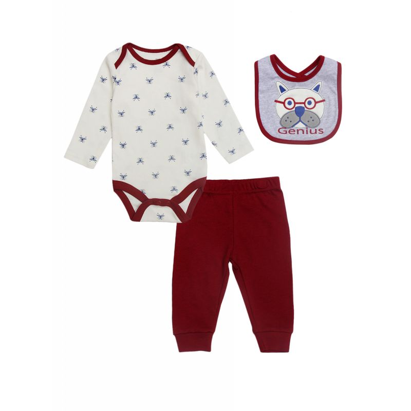 3-piece Newborn Infant Boys Cotton Bodysuit Outfits Set Cute Dog Bodysuit+Red Pants+Bib