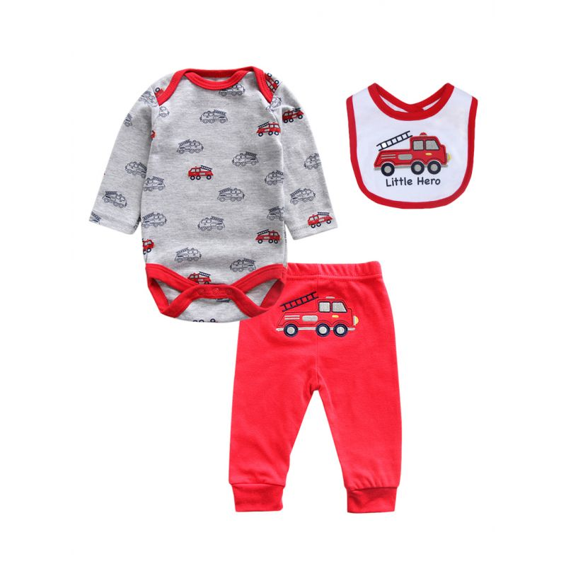 3-piece Newborn Baby Boys Spring Cotton Clothes Outfits Set Truck Onesie+Red Trousers+Bib