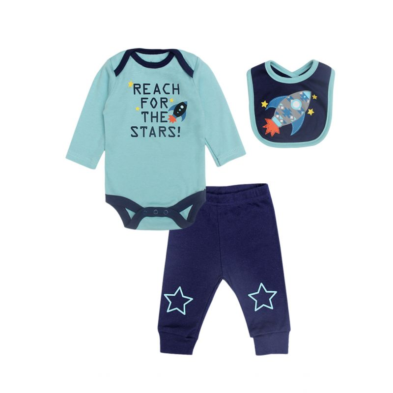 3-Piece Newborn Infant Boys Spring Cartoon Rocket Clothes Outfits Set Romper+Trousers+Bib