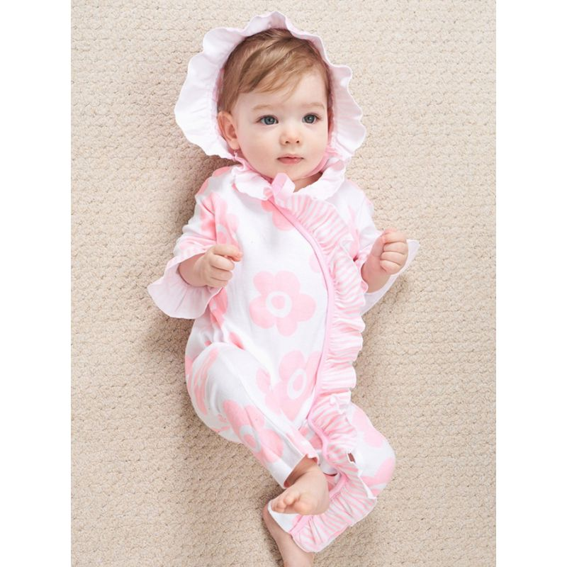 Flare Sleeve Ruffled-trimmed Floral Newborn Baby Girl Jumpsuit Overalls with Hat Cotton Spanish Baby Clothes