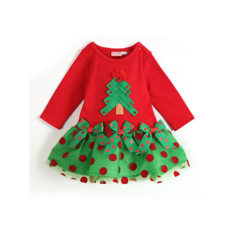 Polka Dots Baby Little Girl Christmas Tulle Dress Long Sleeve
