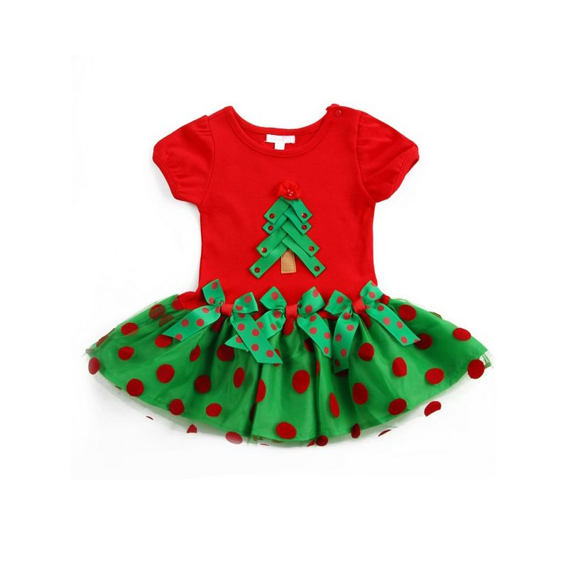 Polka Dots Infant Toddler Girl Christmas Tulle Dress Short Sleeve