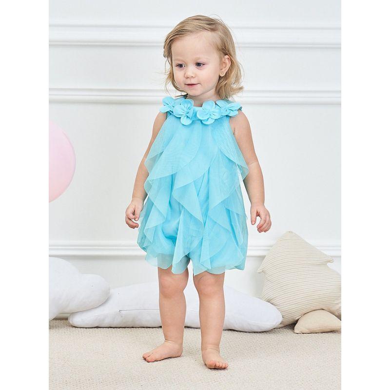 Spanish Style Newborn Infant Girl Mesh Flower Trimmed Romper Bodysuit
