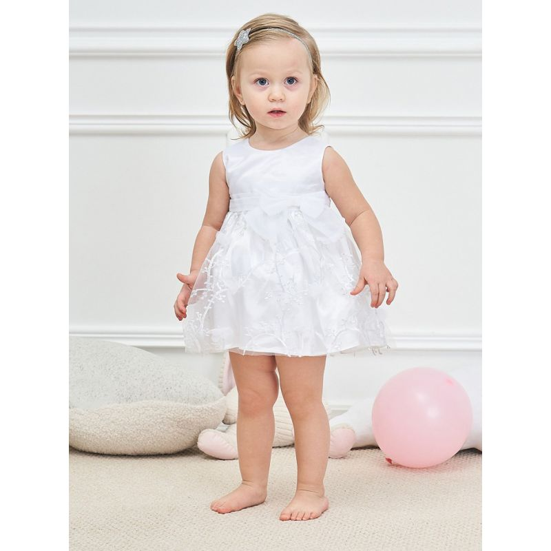 Flower Trimmed Bowknot Newborn Baby Little Girl Baptisms Dress Spanish Style Princess Dress