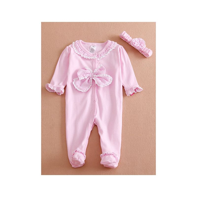 49b020101e3e Big Bow Ruffled-cuff Newborn Infant Girl Footed Overalls with Flower  Headband Spanish Style Baby