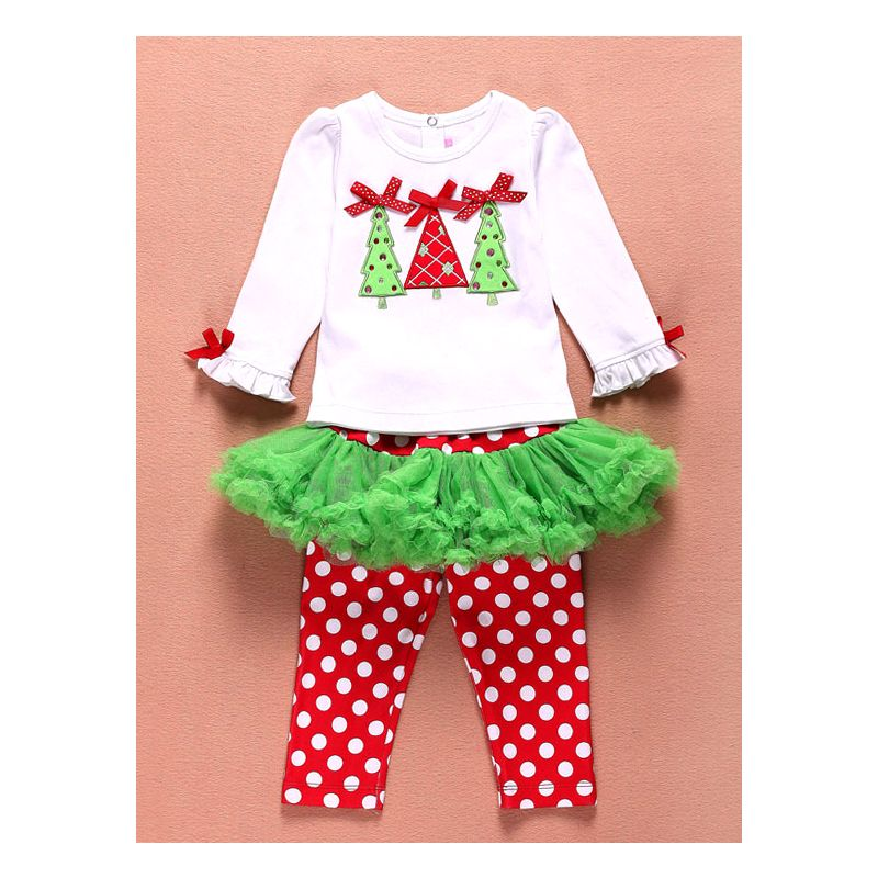 2-piece Baby Little Girl Christmas Costumes Outfits Set Christmas Tree Pullover+Tulle Polka Dots Pantskirt