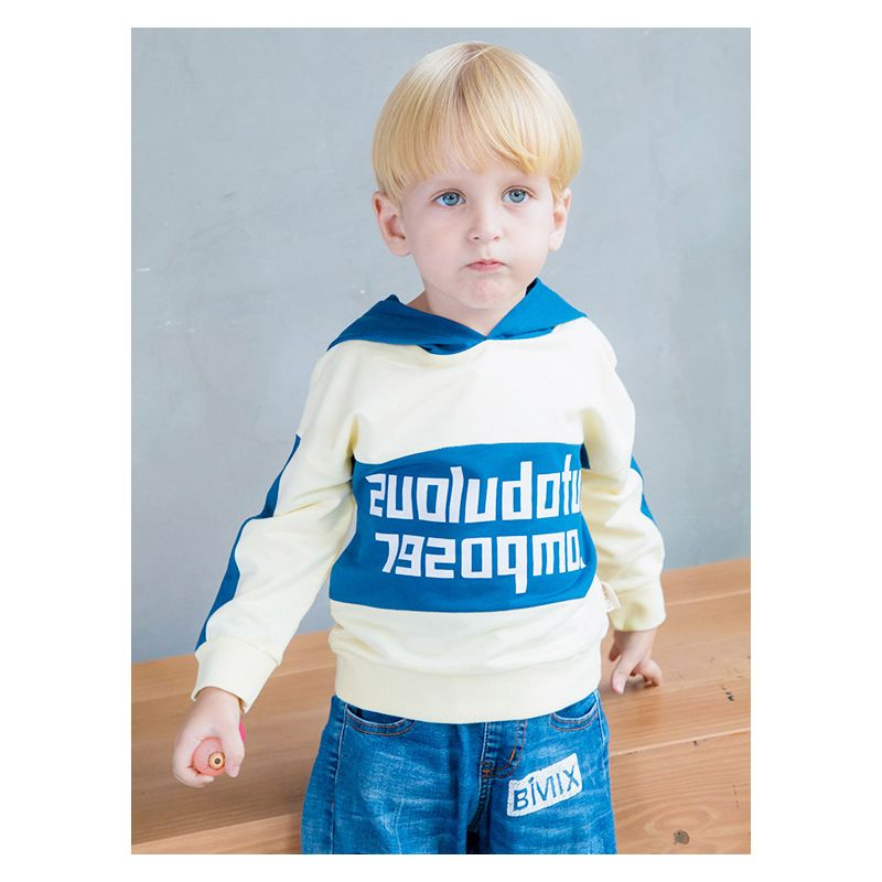 Letters Print Color Blocking Baby Little Boys Hoodie Kids Cotton Sweatshirt