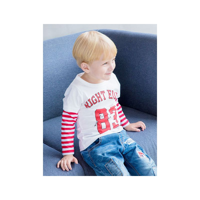 RIGHT EURO 83 Striped Fake Two Piece Pullover Infant Toddler Big Boys Cotton Sprint T-Shirt
