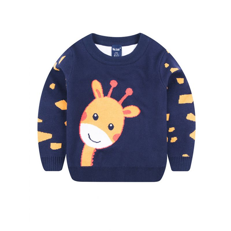 Toddler Big Boys Giraffe Crochet Sweater Big Kids Cartoon Jumper