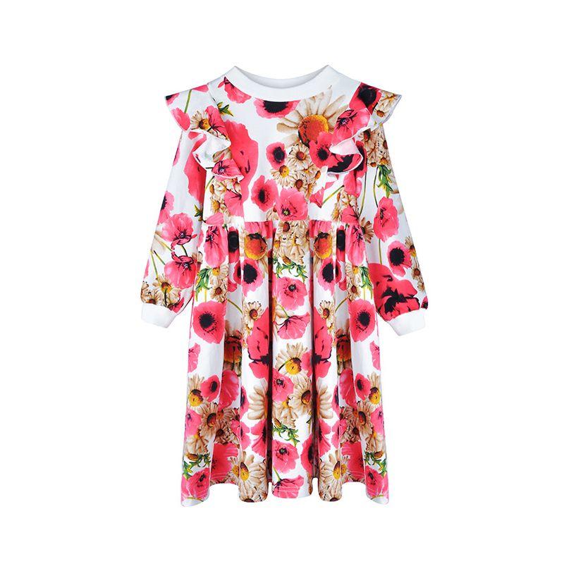 Autumn Little Girl Floral Flutter Causal Shift Dress