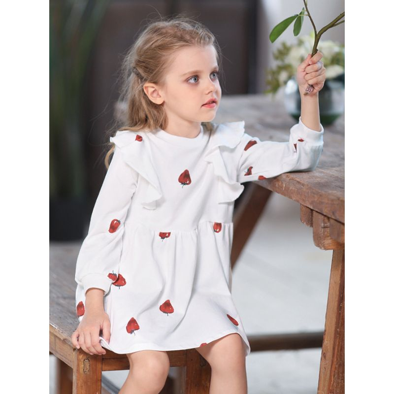 Strawberry Flutter Sleeve Toddler School Girl Spring Ruffled Causal Shift Dress