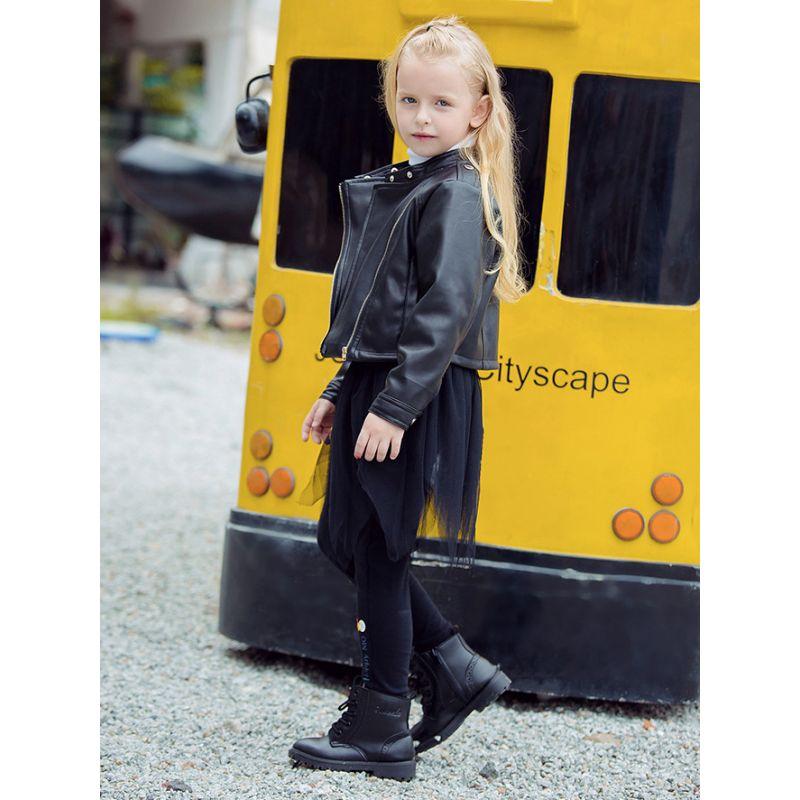 Stylish Little Big Girl PU Zip Black Causal Jacket Coat